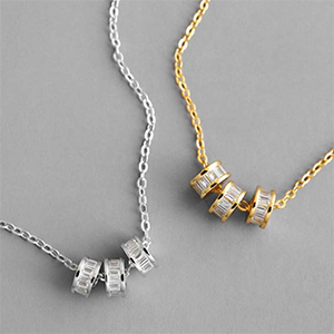 Minimal Gold and Silver Charm Necklaces Embedded with Zircon Stones
