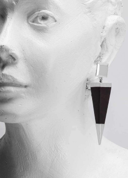 Black and Silver Pyramid Dangle Earrings Handmade from Ebony Wood and Sterling Silver
