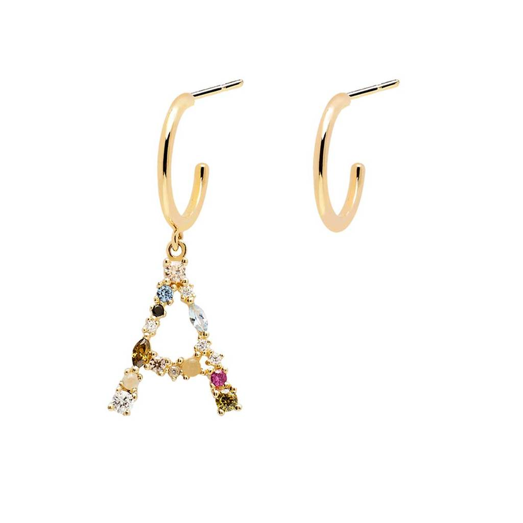 Handmade 18k Gold Plated Letter A Semi-precious Multi-stone Initial Asymmetric Dangle Earrings