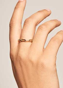 Handmade Sterling Silver Gold Plated Minimal Link Chain Ring For Women