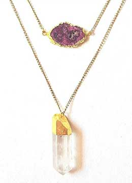 Layered gold chain Necklace for Women with Studded Semi-Precious Stone Pink Druzy and Crystal