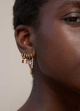 Handmade 18k gold dangle layered earrings and ear cuffs for women