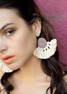 Casual wear handmade tassel earrings with Cotton Tassel Threads for women