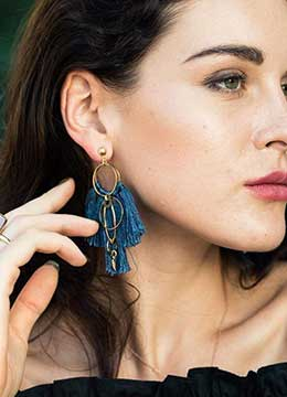 Handmade brass plated gold long colorful tassel earrings