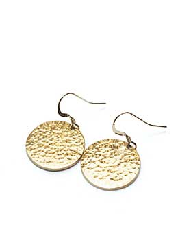 Minimal gold plated medallion earrings made with recycled brass for women
