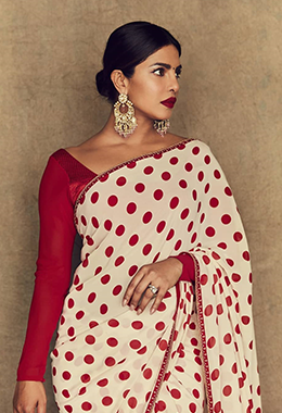 Huge Statement-Making Jhumkas With Polka Dot Sabyasachi Saree