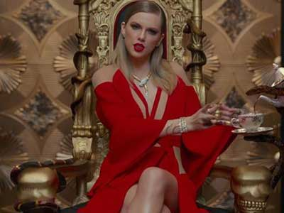 Taylor Swift in Red Dress with Choker in Look What You Made Me Do