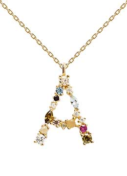 Handcrafted Gold plated alphabet pendant with semi-precious stones for Women