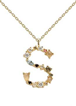 Handmade Customized Gold plated S initial pendant with studded semi-precious stones