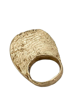 Ocean Textured Elliptical Gold Plated Ring Handmade from Brass