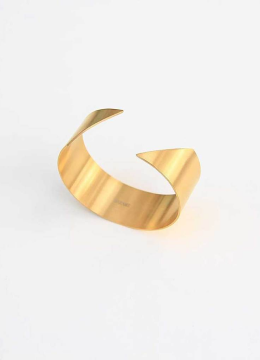 18k Gold plated Diagonal Adjustable Cuff Bracelet handmade from Stainless steel