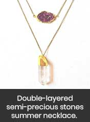 Druzy stone and crystal layering pendant chain, handmade in Ahmedabad, India