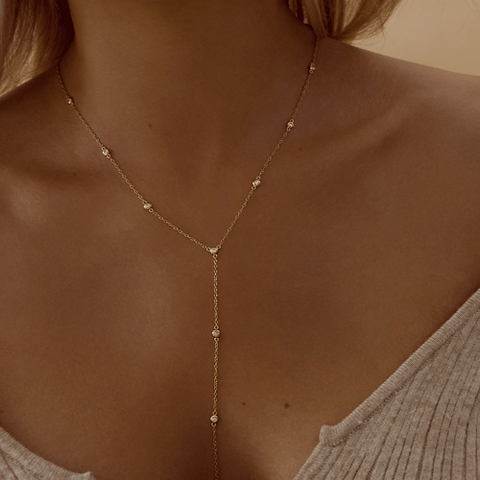 Handmade Gold Vermeil Plated Drop Chain Lariat Necklace Studded With White Zircon Stones
