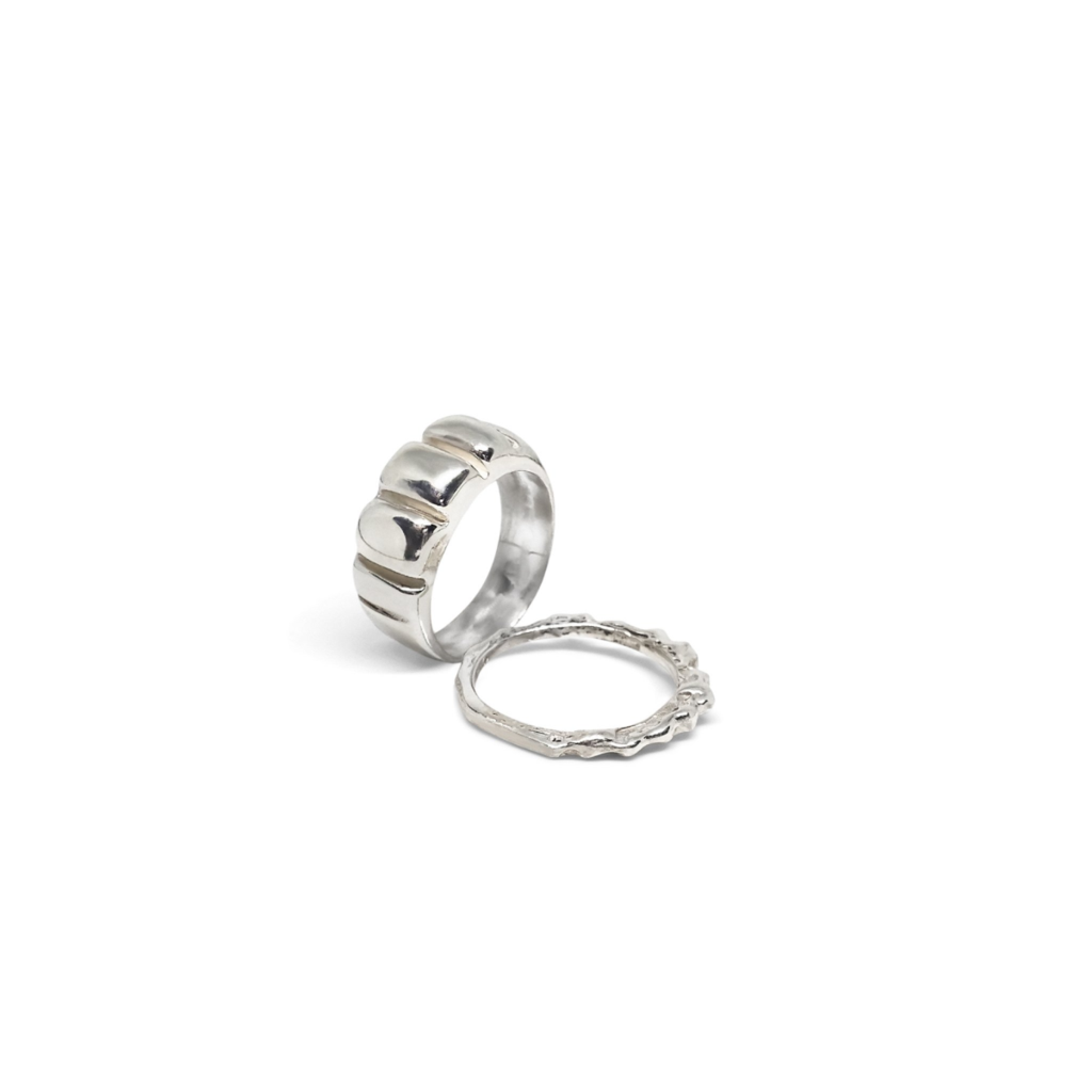Handmade Rhodium Plated Stack Rings