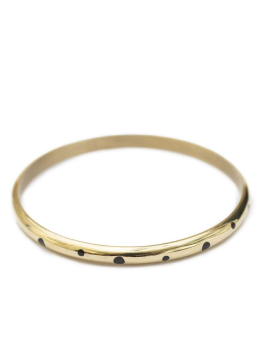 Minimal Bracelet plated with gold and black horn inlays handmade from recycled brass
