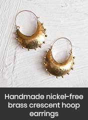 Nickel-free crescent hoop earrings with raised dots on surface, handmade in Morocco
