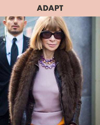 Anna Wintour wearing crystal stone layered necklace