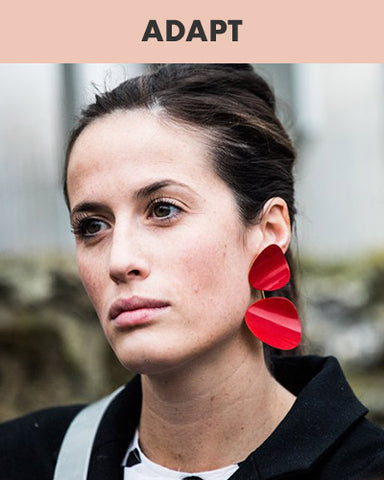 Red Stud-dangler Earrings