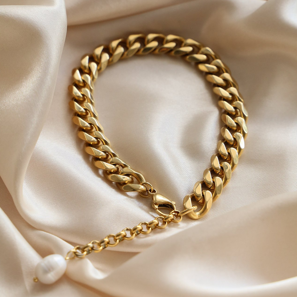 Handmade 18k Gold Vermeil Plated Pearl Chain Link Anklet