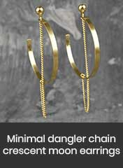 gold plated steel hoop earrings with brass chain passing through the center, handmade in Athens
