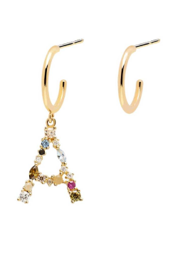 Handmade 18k Gold Plated Asymmetric Letter 'A' Earrings