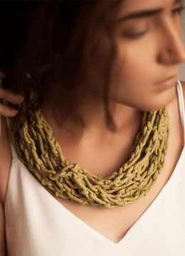 Model Wearing Multilayered Olive Green Statement Necklace Handmade from Cotton Cords