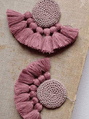 Tanzire's Mink and Dusty Pink Crochet Tassel Earrings