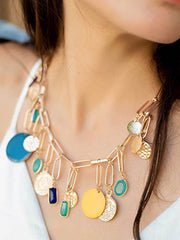 Tanzire's colorful enamel and coin pendant chunky necklace