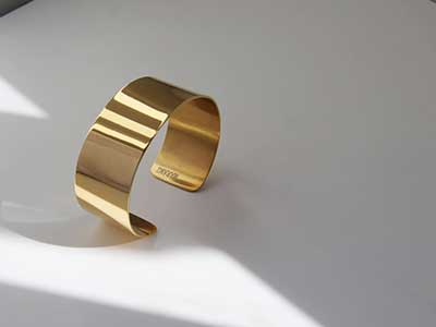 Minimal gold plated wide cuff bracelet