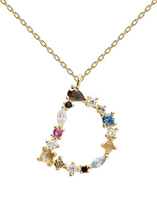 18k Gold plated personalized multi-stone letter 'D' Pendant