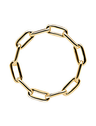 Minimal gold plated chain link cyclone ring