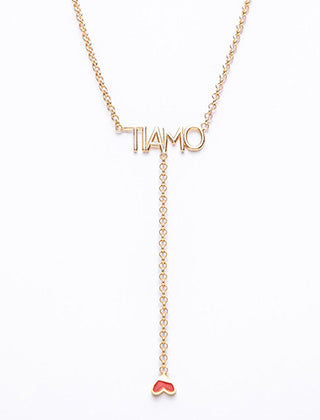 Gold Plated TI-Amo chain link necklace with an inverted red heart drop pendant
