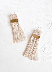Beige Silk Thread Tassel Earrings