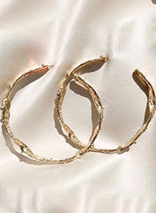 18k Gold Plated Textured Hoops