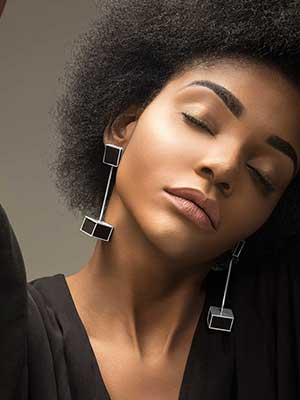 Neti Neti Ebony Wood and 925 Sterling Silver Square Drop Earrings
