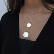 Load image into Gallery viewer, Girl Layering Tanzire's 18k Gold-Plated Polar Star Big and Small Pendant Chains - Tanzire
