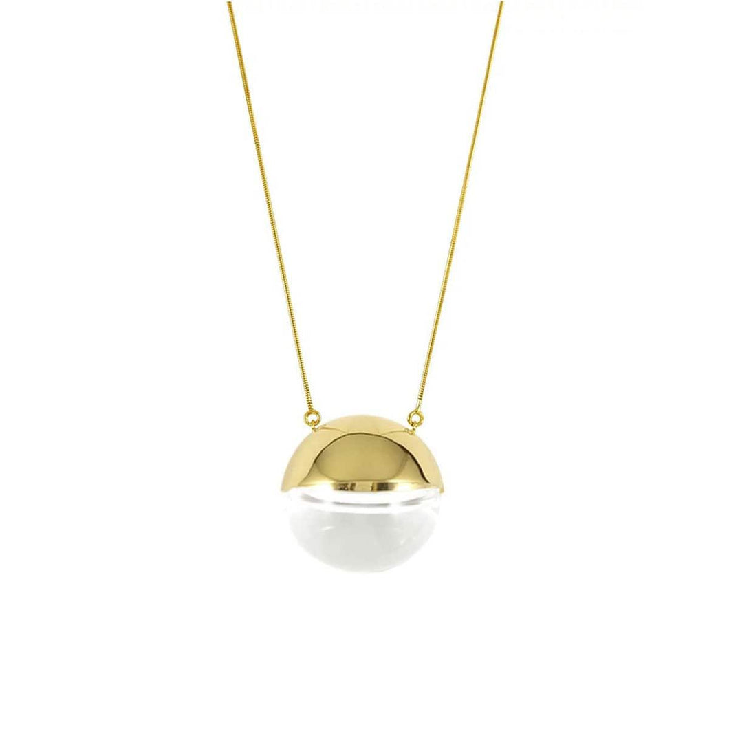 14k Gold Plated Glass Pendant Necklace