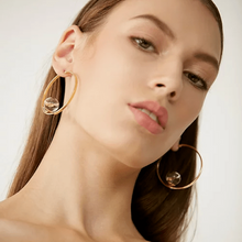 Load image into Gallery viewer, Glass Droplet Gold Hoop Earrings