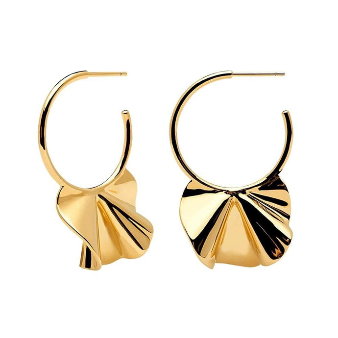 18k Gold plated handmade pair of wavy motif hung on hoop earrings