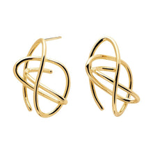 Load image into Gallery viewer, Handmade pair of 18k gold plated coil earrings