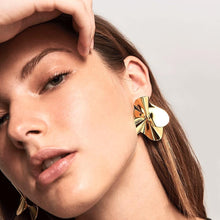 Load image into Gallery viewer, Model Wearing Lustrous Statement-making Wavy Pattern Handmade Pair of 18k Gold Plated Big Stud Earrings
