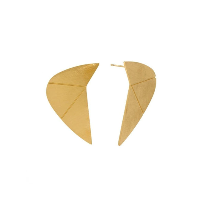 Matte Finish 18K Gold Plated Statement Sharp Eclipse-Shape Dangle Statement Earrings for Women Handmade in Stainless Steel