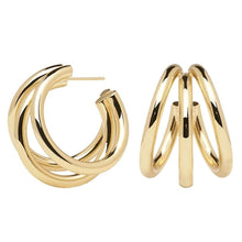 Load image into Gallery viewer, Handmade 18k Gold Plated Tri Hoop Earrings from Spain at Tanzire