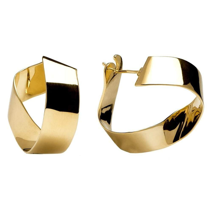 Contemporarily Twisted Classic Pair of 18k Gold Plated Hoop Earrings