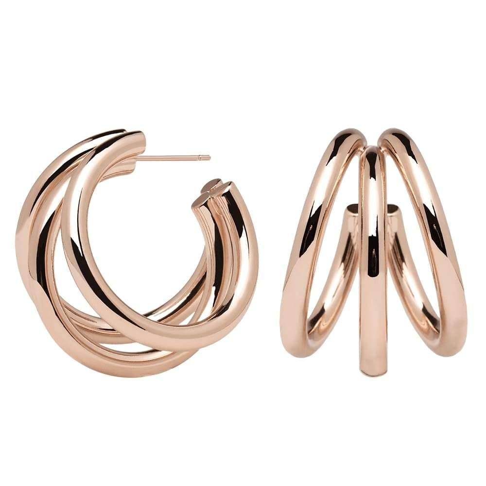 Contemporary Pair of 18k Rose Gold Plated Tri-Hoop Earrings