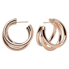 Load image into Gallery viewer, Rose Gold Plated Tri-Hoop Earrings