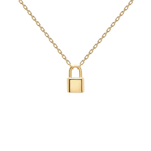 Load image into Gallery viewer, Personalized Engraved Initials Padlock Pendant Necklace For Valentines Day Gift in Gold
