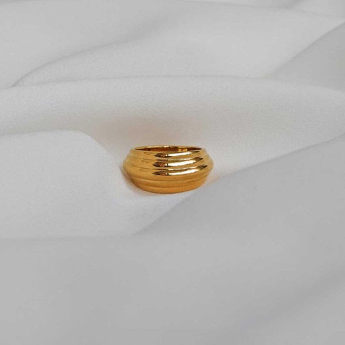 Handmade CHUNKY 18K GOLD PLATED DOME RING