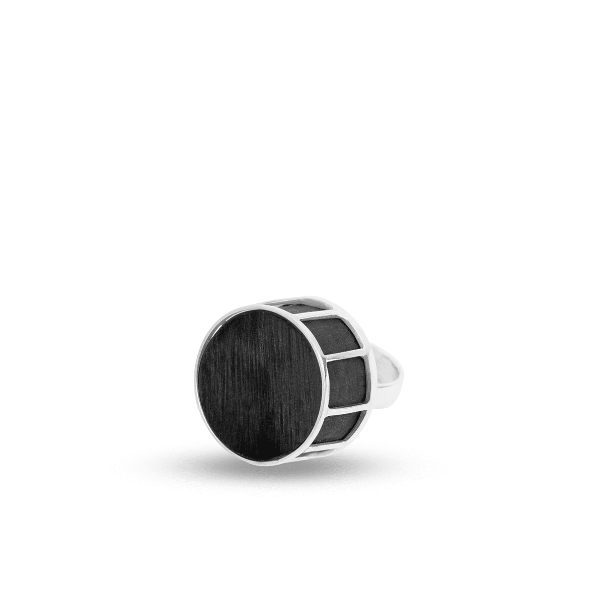 925 Sterling Silver And Ebony Wood Caged Round Ring