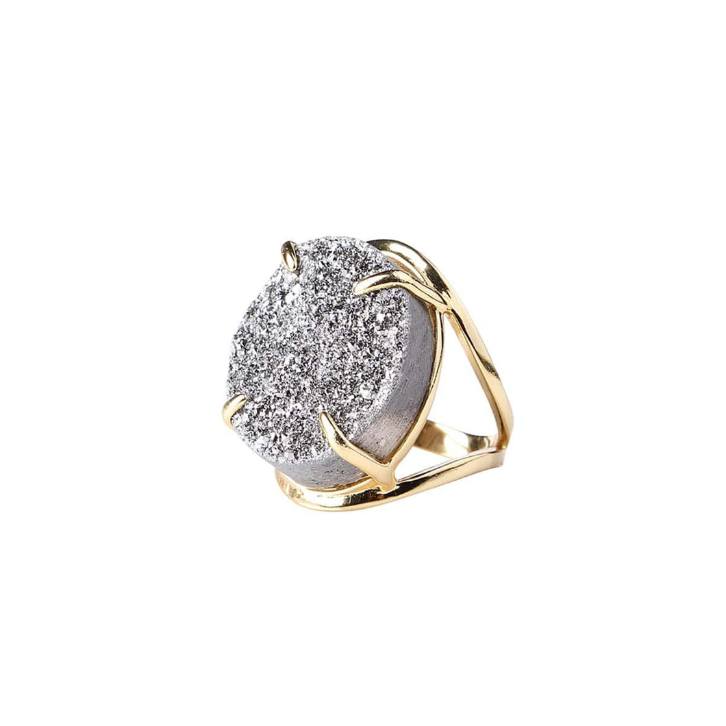 Holly Silver Moon Druzy Ring